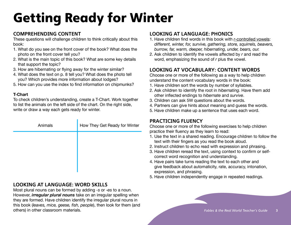 Getting Ready for Winter Teacher's Guide