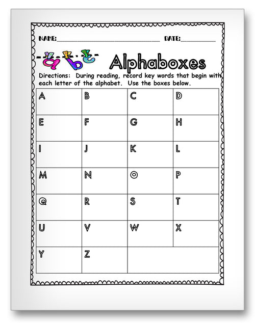 Alphaboxes Classroom Activity Worksheet