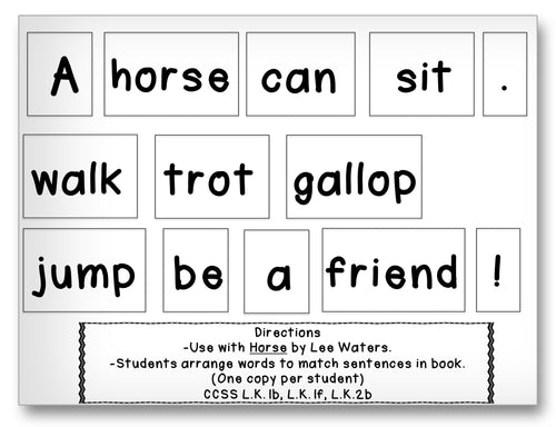 Horse Word Cards Classroom Activity Worksheet