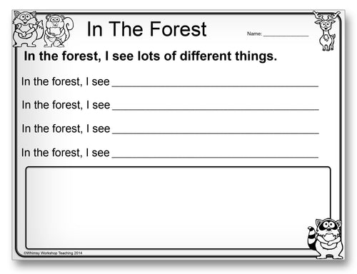In the Forest Classroom Activity Worksheet