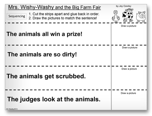 Mrs. Wishy-Washy and the Big Farm Fair Classroom Activity Worksheet