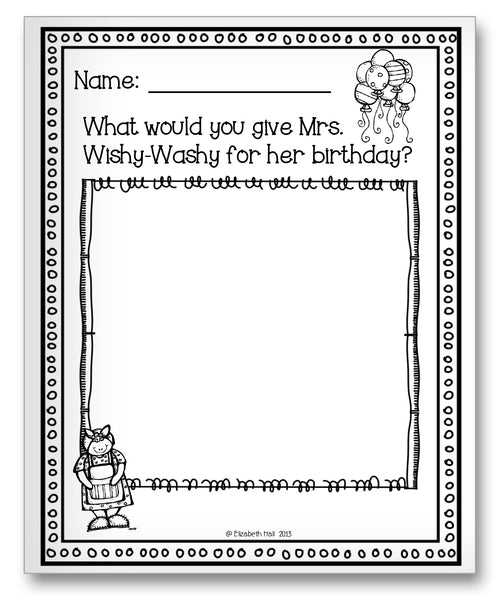 Mrs. Wishy-Washy's Birthday Classroom Activity Worksheet