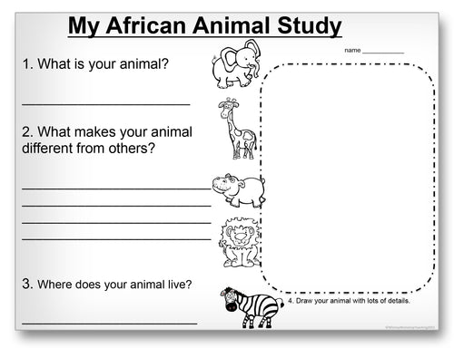 My African Animal Study Classroom Activity Worksheet