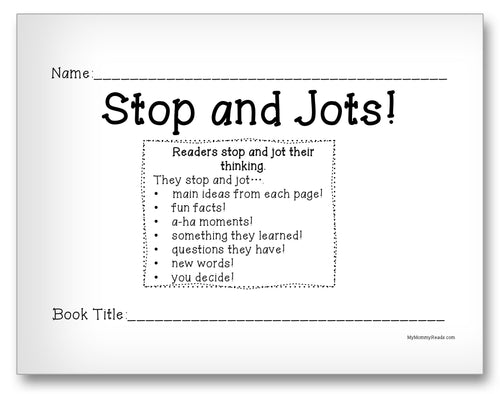 Stop and Jots Classroom Activity Worksheet