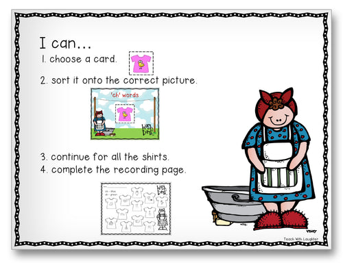 Wishy-Washy Diagraphs Classroom Activity Worksheet