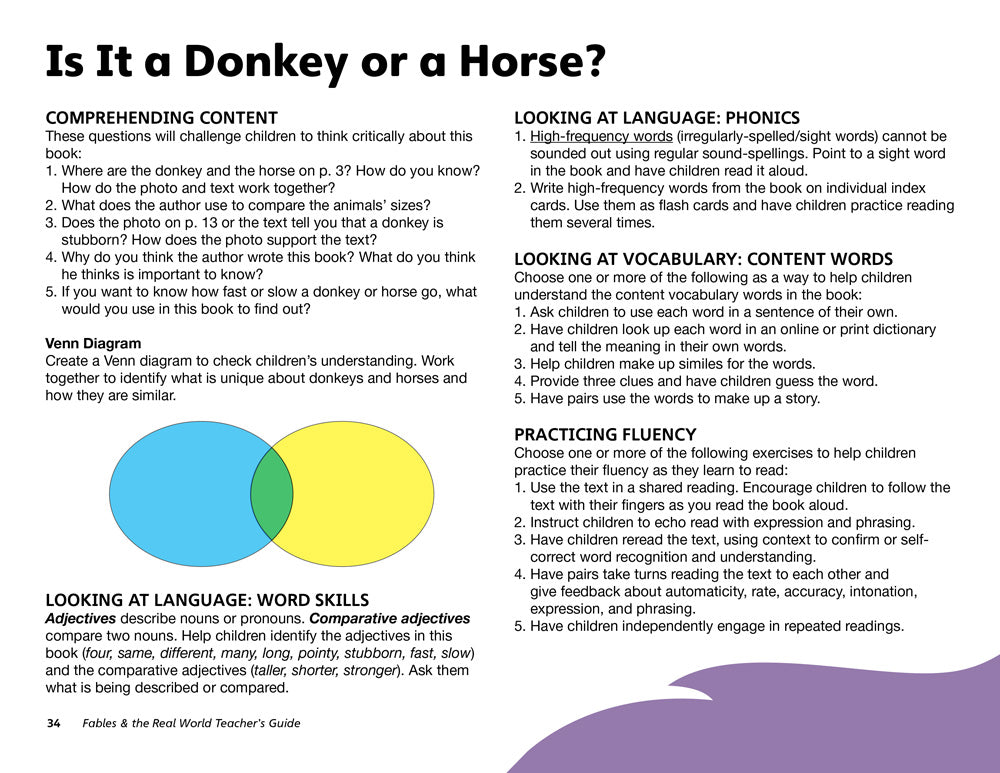 Is It a Donkey or a Horse? Teacher's Guide