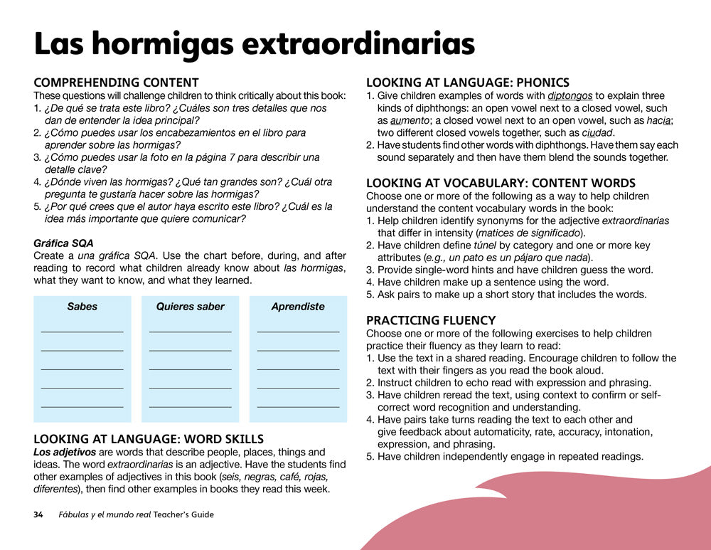Las hormigas extraordinarias Teacher's Guide