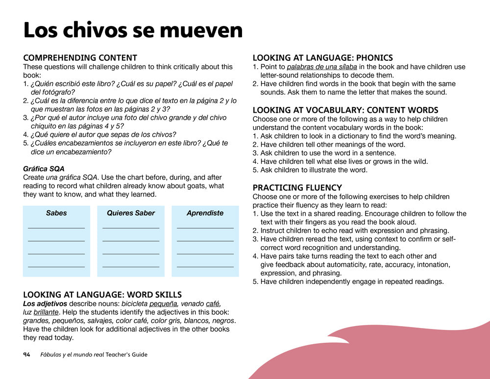 Los chivos se mueven Teacher's Guide