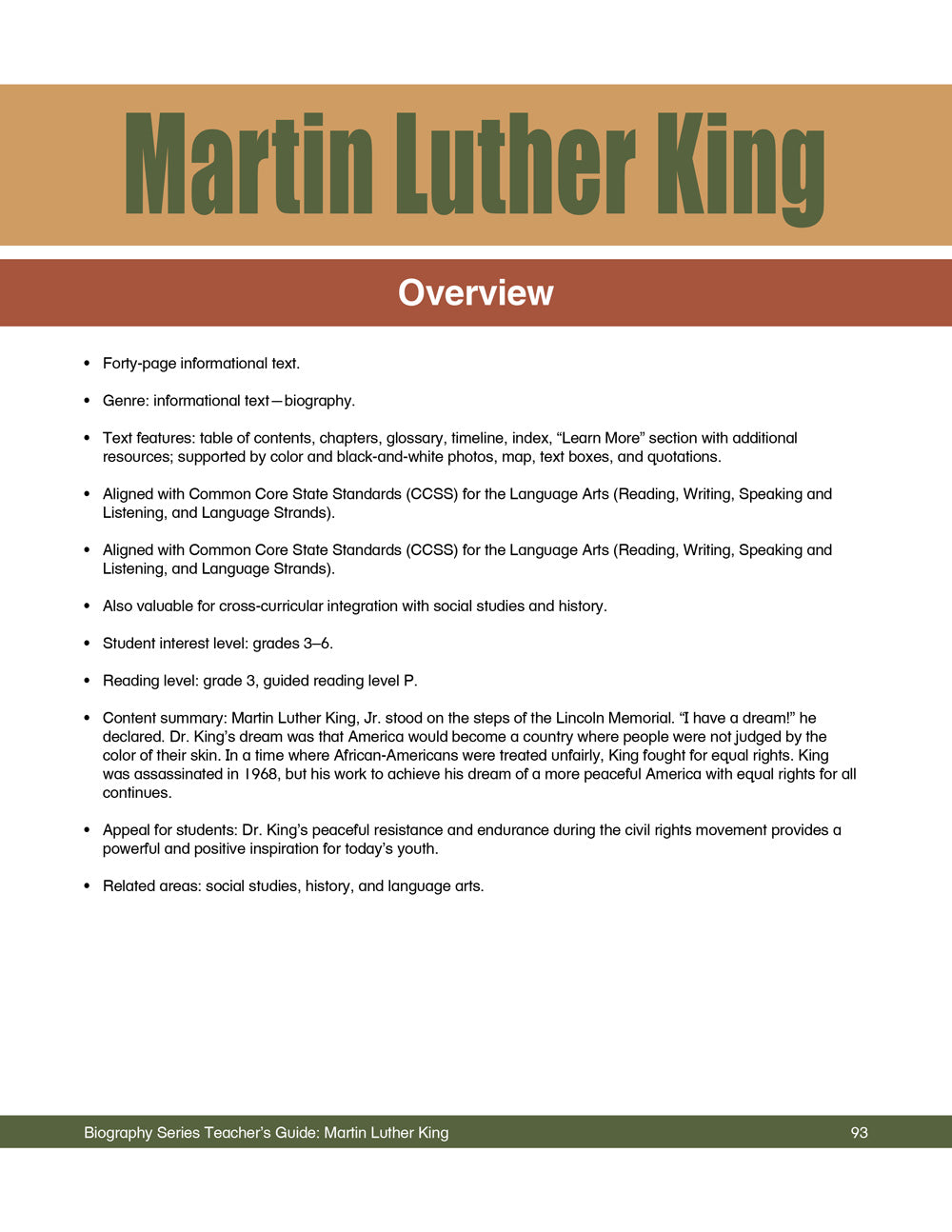Martin Luther King, Jr. Teacher's Guide