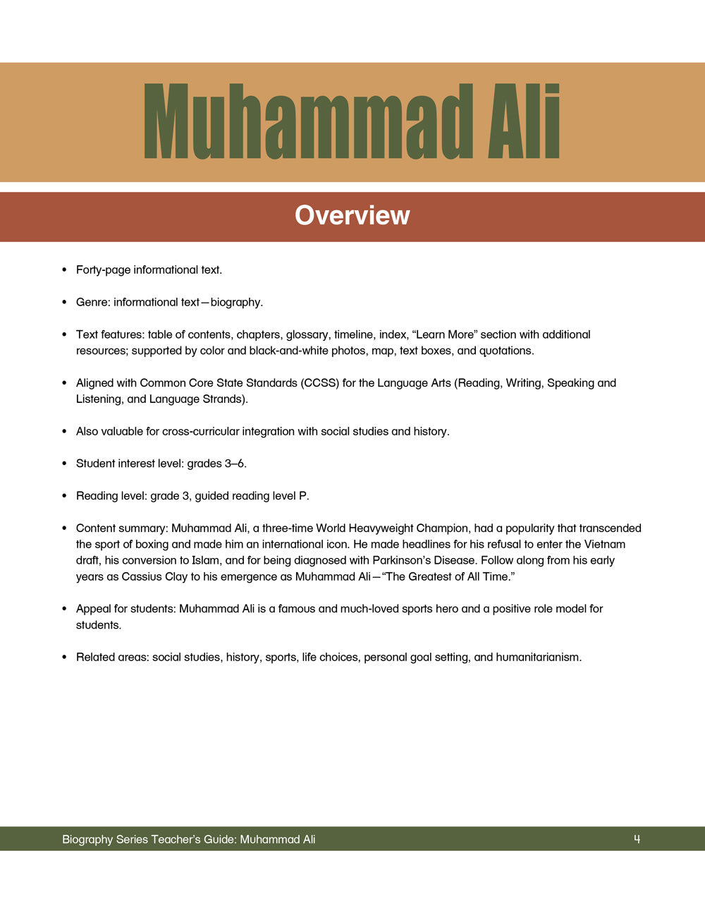 Muhammad Ali Teacher's Guide