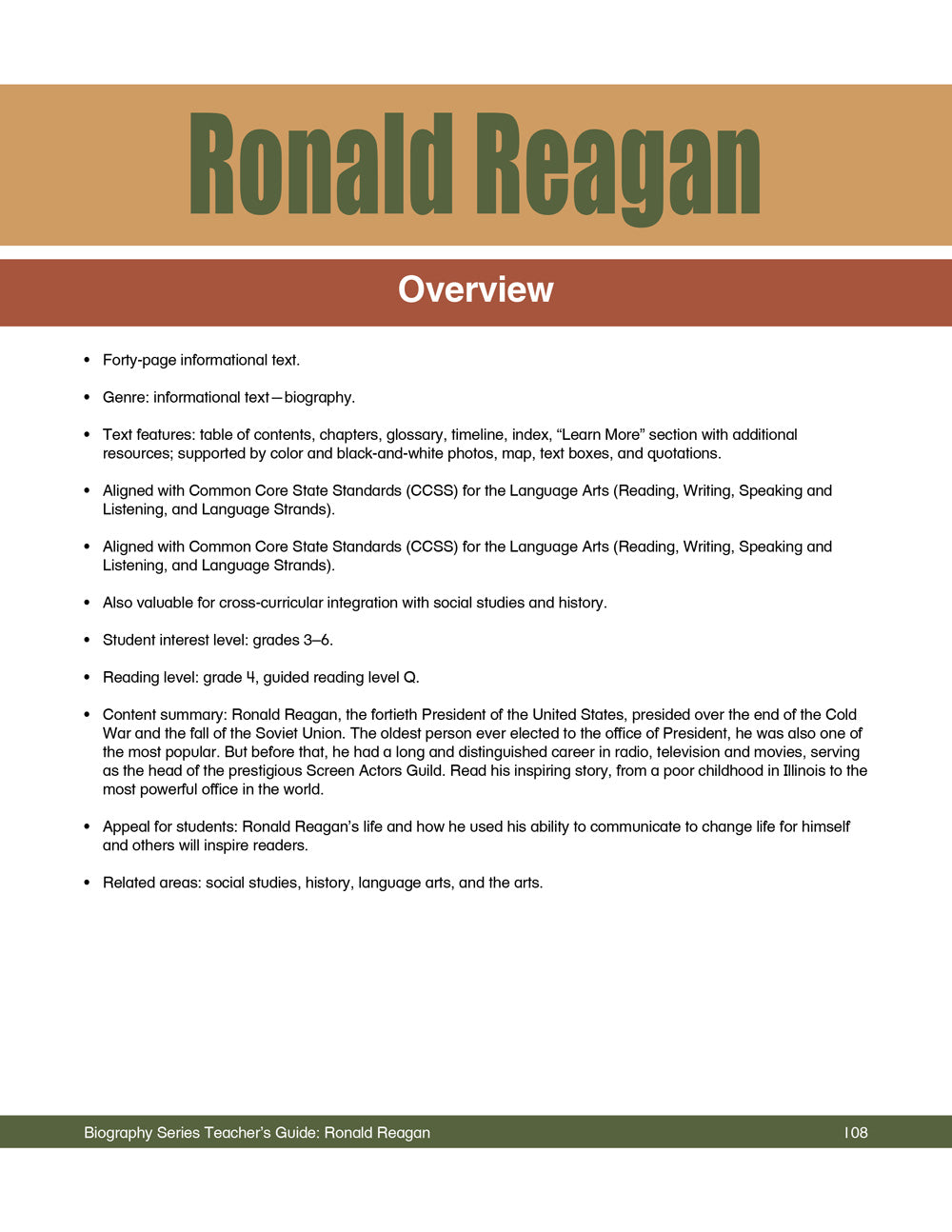 Ronald Reagan Teacher's Guide