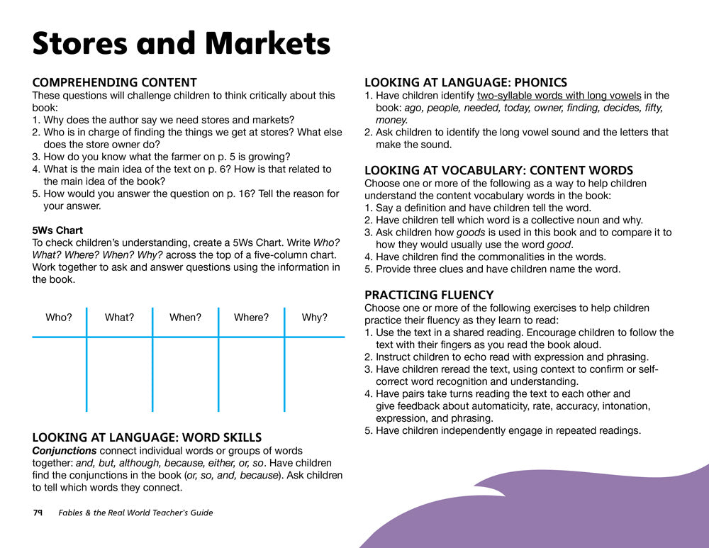 Stores and Markets Teacher's Guide
