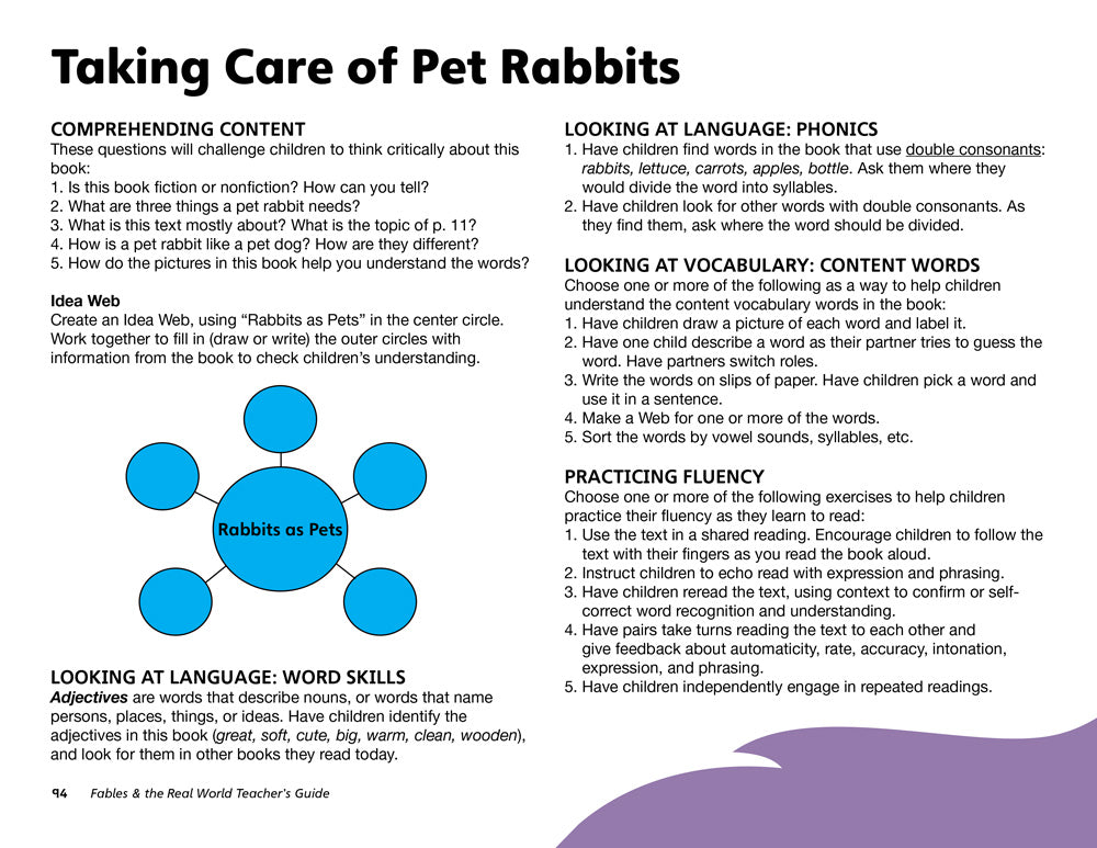Taking Care of Pet Rabbits Teacher's Guide