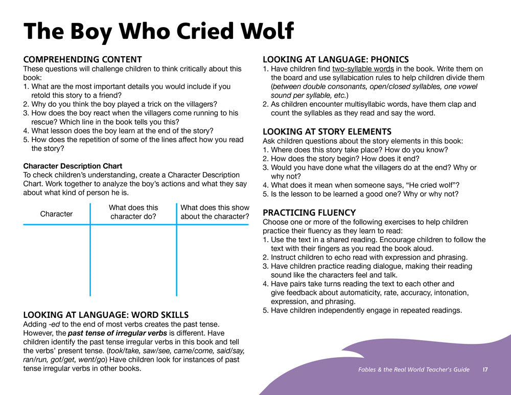 The Boy Who Cried Wolf Teacher's Guide