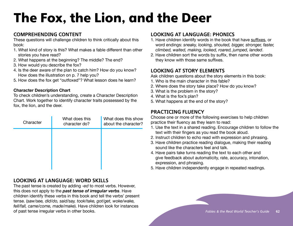 The Fox, the Lion, and the Deer Teacher's Guide