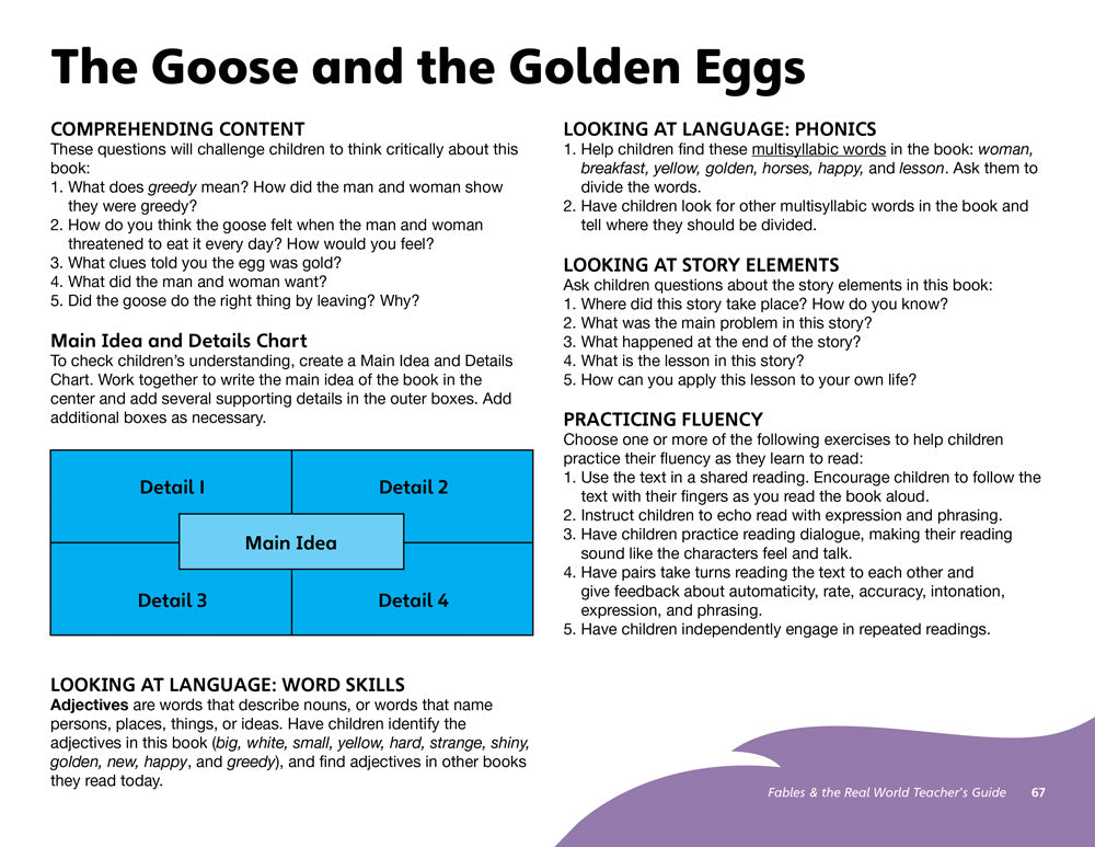 The Goose and the Golden Eggs Teacher's Guide