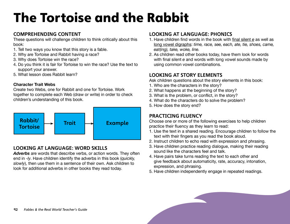 The Tortoise and the Rabbit Teacher's Guide