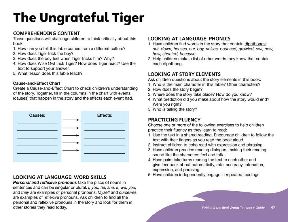 The Ungrateful Tiger Teacher's Guide
