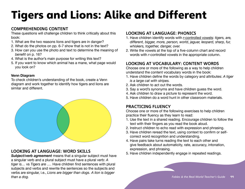 Tigers and Lions: Alike and Different Teacher's Guide