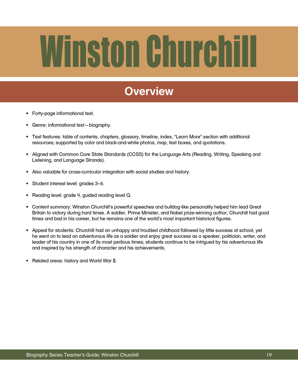 Winston Churchill Teacher's Guide