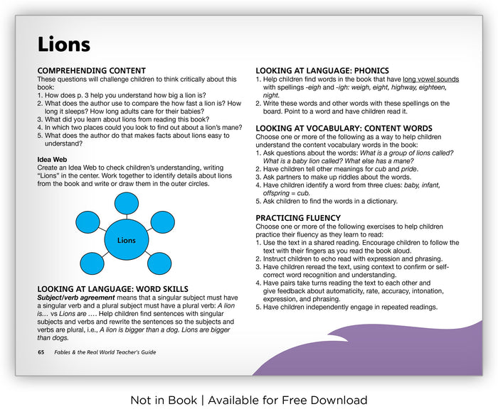 Lions - Fables & the Real World - Hameray Publishing