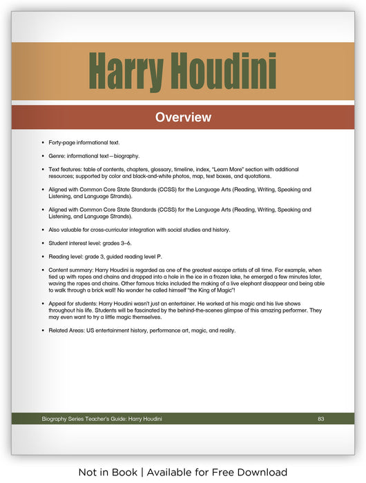 Harry Houdini from Hameray Biography Series