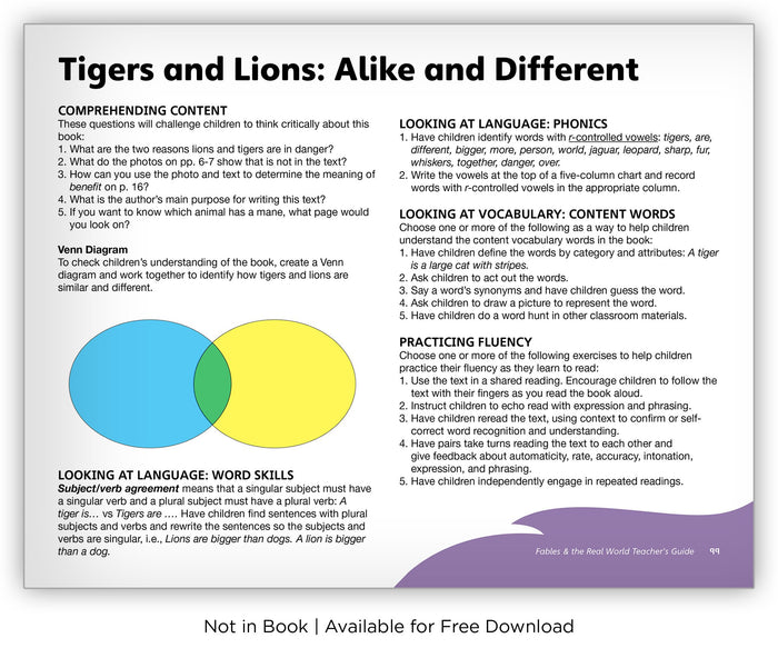 Tigers and Lions: Alike and Different from Fables & the Real World