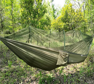 Medium image of outdoor parachute cloth hammock tent hybrid
