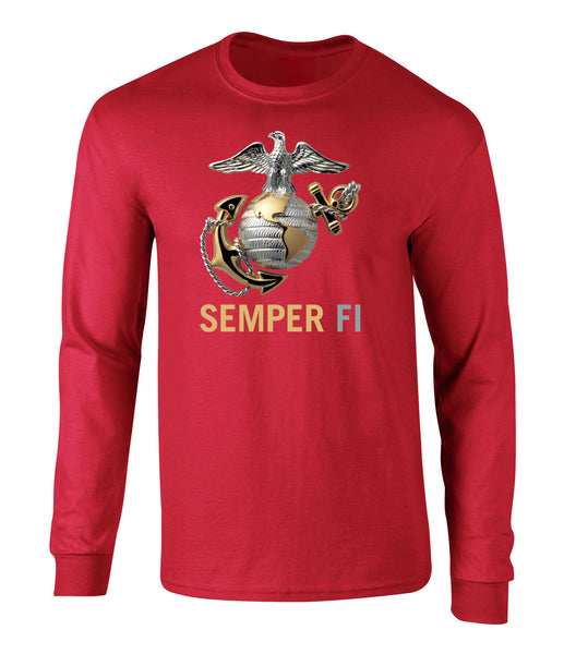 US Marines Semper Fi Eagle Graphic Long Sleeve T Shirt
