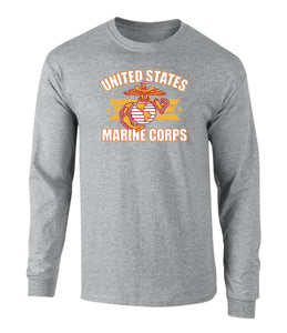 US Marines Stars and Bars Graphic Long Sleeve T Shirt