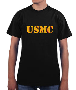 US Marines Vintage USMC Drop Shadow Graphic T Shirt