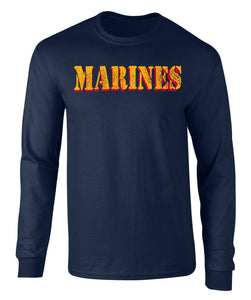 US Marines Vintage Marines Drop Shadow Graphic Long Sleeve T Shirt