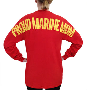 Proud Marine Mom Vintage Distress Stadium Print