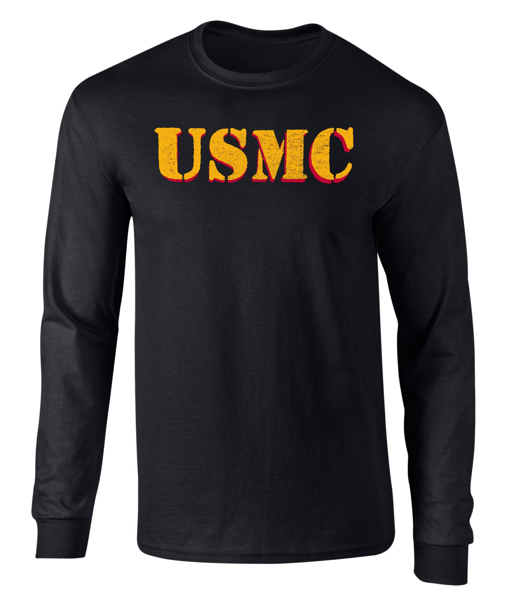 US Marines Vintage USMC Drop Shadow Graphic Long Sleeve T Shirt