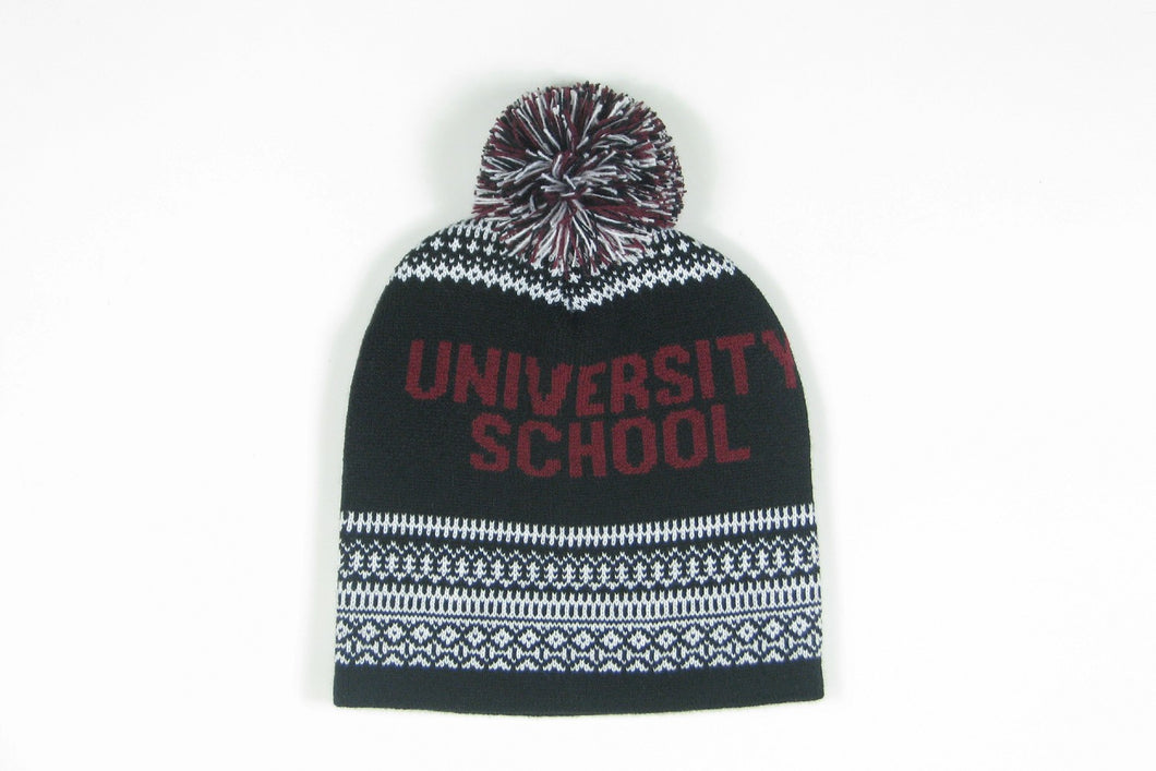Classic University School multicolor beanie with pompom