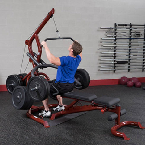 Body-Solid GLGS100 Corner Leverage Gym 3 Stations Lat Pulldown