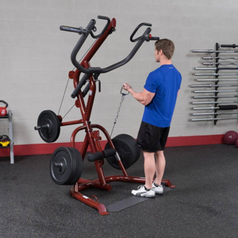 Body-Solid GLGS100 Corner Leverage Gym 3 Stations Low Pulley