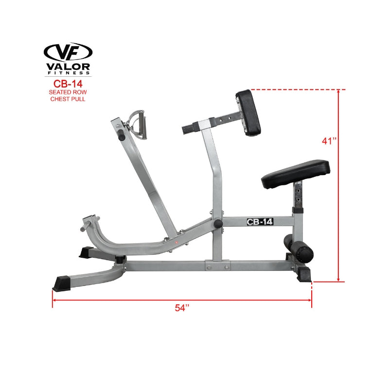 Valor Fitness CB-14  Seated Row / Chest Pull Width and Height