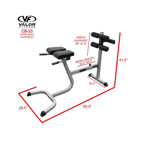 Valor Fitness  CB-23  Hyper Back Extension Dimension