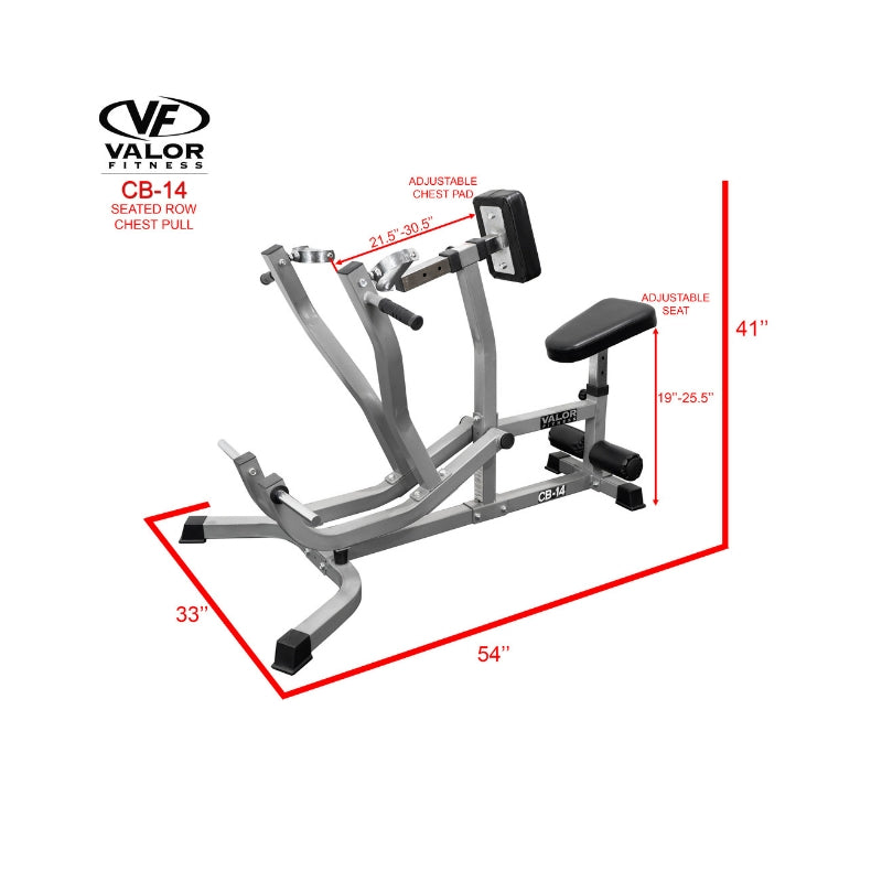 Valor Fitness CB-14  Seated Row / Chest Pull Dimension