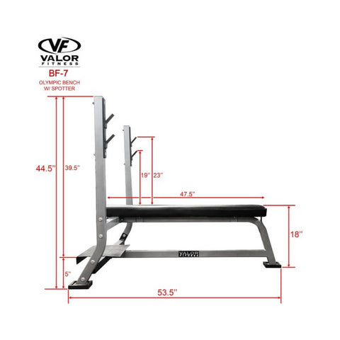Valor BF-7 Olympic Bench w/ Spotter Side View Dimension