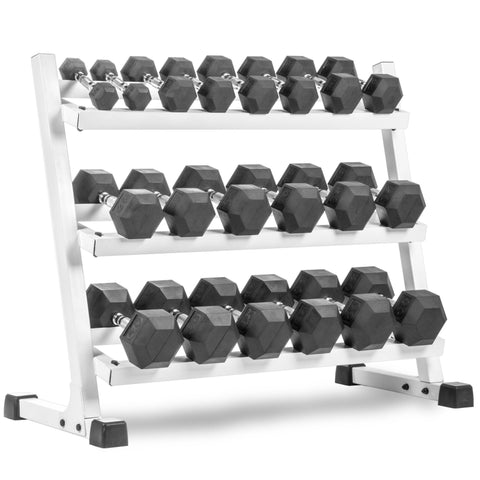 Image of XMark Fitness Three Tier Dumbbell Rack Angled Shelves XM-3107.1