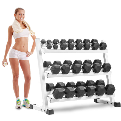 XMark Fitness Three Tier Dumbbell Rack Angled Shelves XM-3107.1