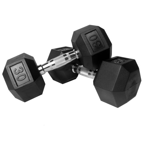 XMark Fitness Premium Quality Rubber Coated Hex Dumbbells (Pair)
