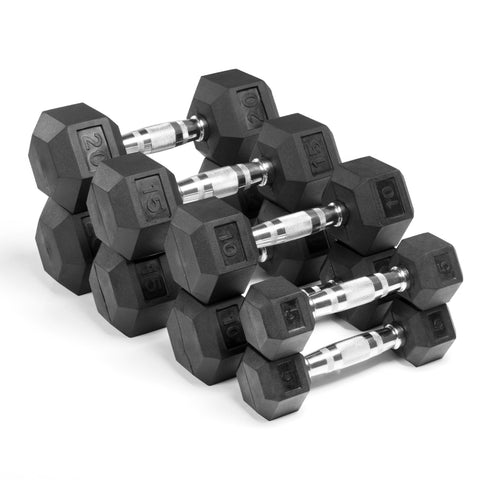 XMark Fitness Rubber Coated Hex Dumbbell Sets