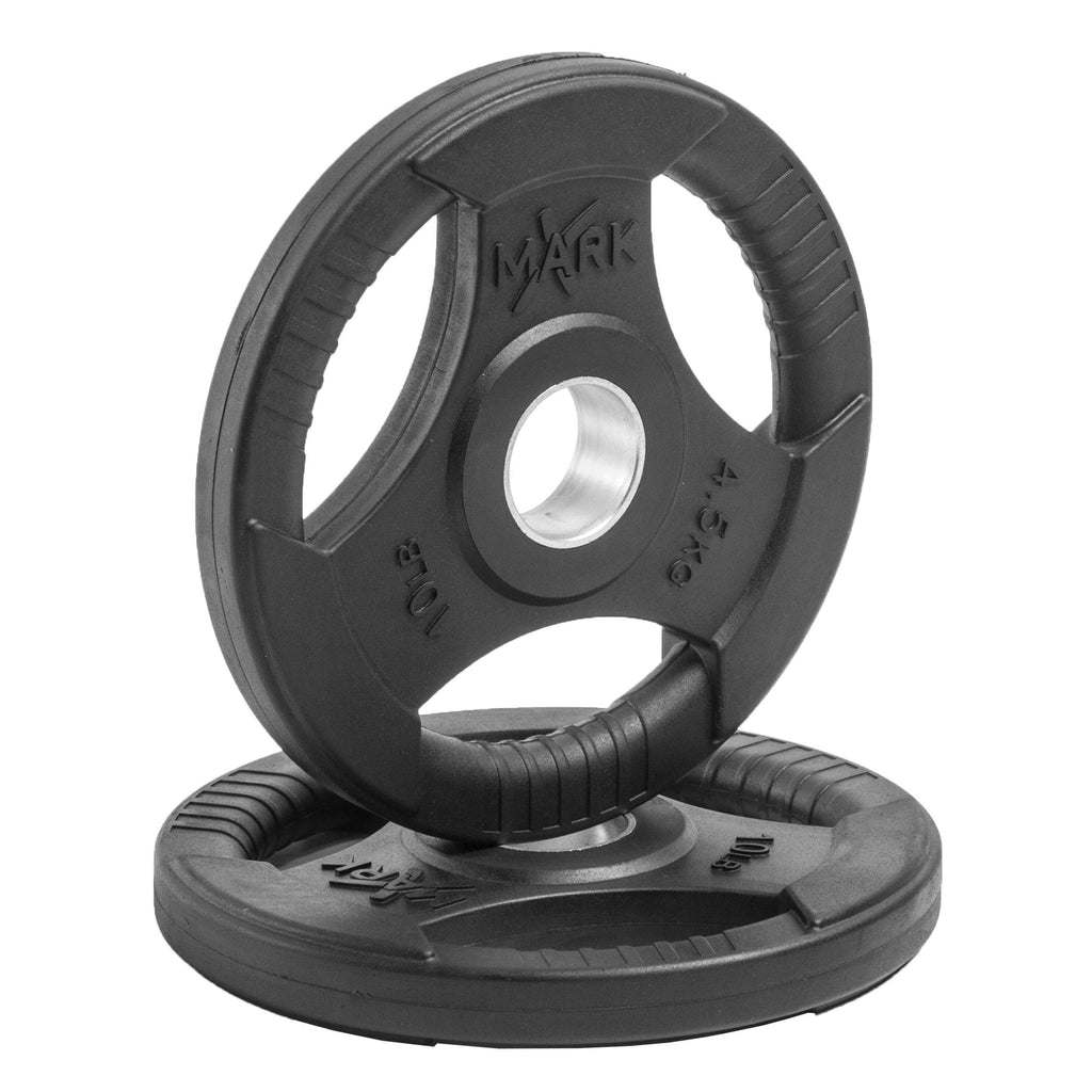 XMark Fitness Rubber Coated Tri-grip Olympic Plate Weights (Pair) XM-3377