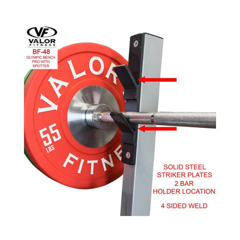 Valor Fitness BF-48 Olympic Bench Pro with spotter with Plate Bar Holder