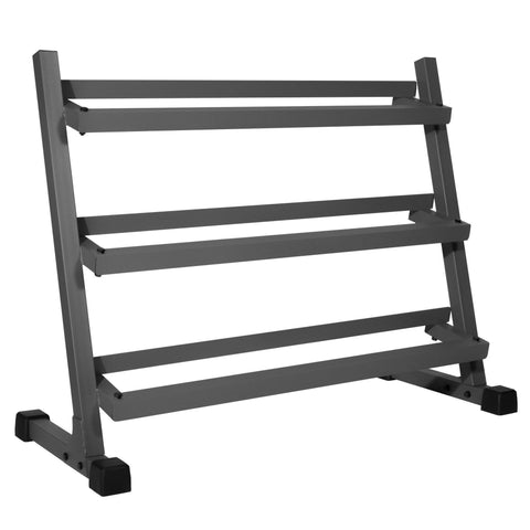 XMark Fitness Deluxe Three Tier Rack with Easy-Reach Tilted Shelves XM-4439