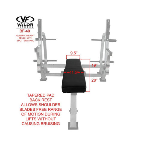 Valor Fitness BF-49 Olympic Weight Bench with Spotter Stand Front View