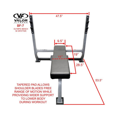 Valor BF-7 Olympic Bench w/ Spotter Front View